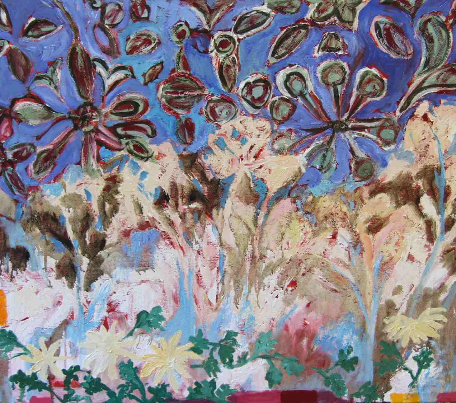Batik forest field painting