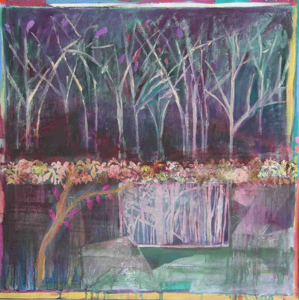 Weaver Tree Forest with a Tiara of flowers painting
