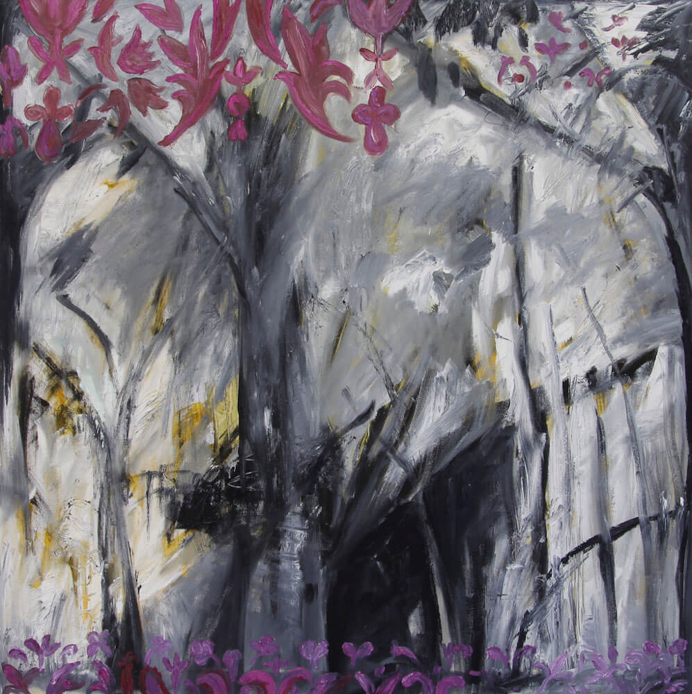 Indoor outdoor light emerging in the forest painting