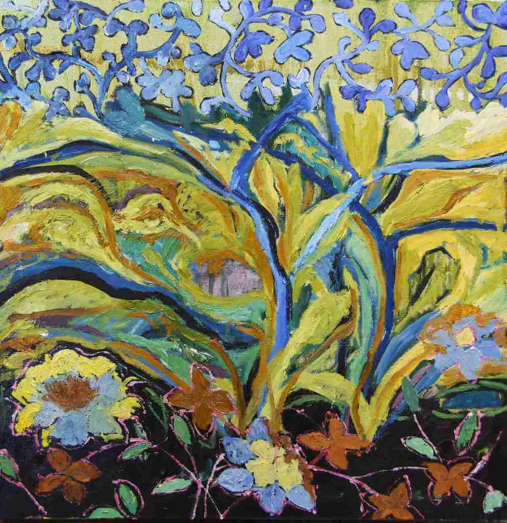 Wild blue and yellow forest painting